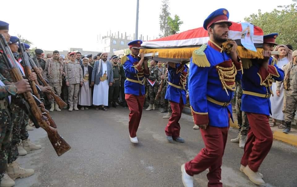 تشييع رسمي وشعبي مهيب للعميد عبدالغني شعلان ورفاقه في مدينة مأرب