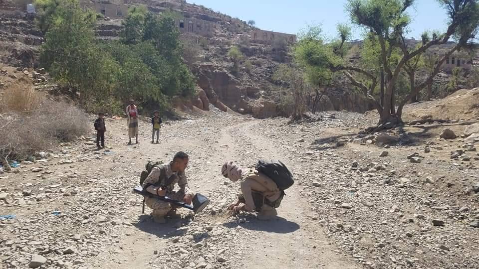 قوات الجيش الوطني  تواصل تطهير المناطق المحررة غرب تعز من الألغام الحوثية